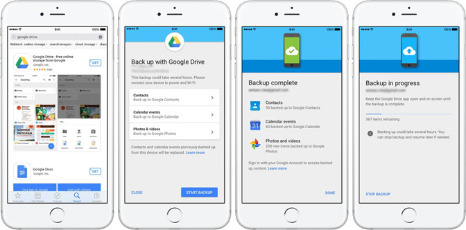 google drev backup iphone