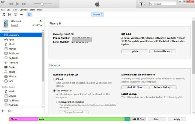 Backup iPhone zu iTunes