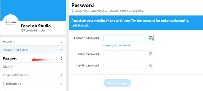 cambiar la contraseña de twitter