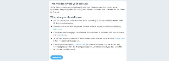desactivar cuenta de twitter