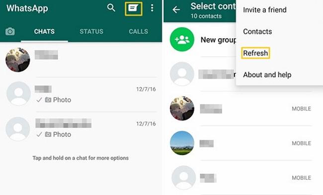 whatsapp frissítse a kapcsolatot