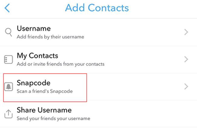 balayer le snapcode enregistré
