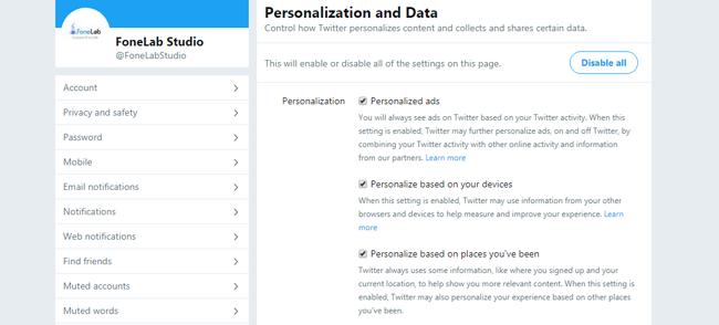 agregar privacidad de twitter