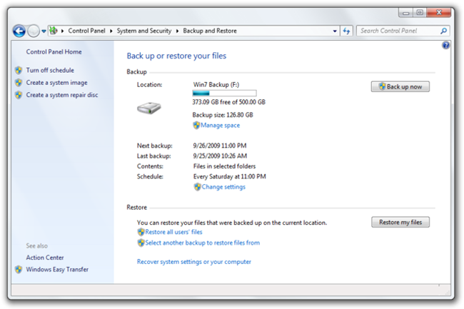 file di Windows di backup