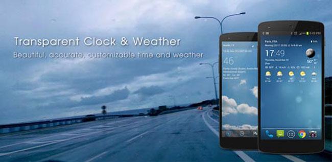 Transparente Uhr & Wetter