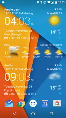 Şeffaf Saat ve Hava Ekran Görüntüsü