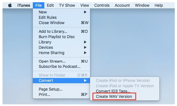 convert m4a to wav with itunes