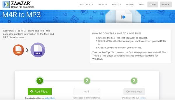 m4r mp3 çevrimiçi dönüştürmek