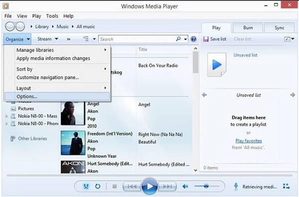 通過Windows Media Player將m4a轉換為mp3