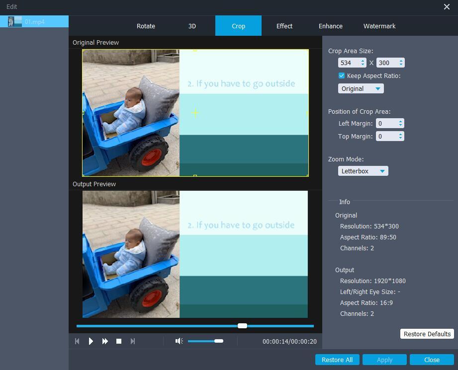 視頻轉換器最終點擊以裁剪視頻