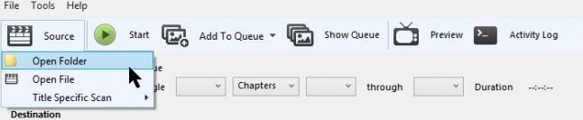 Handbremse geöffnete Dateien