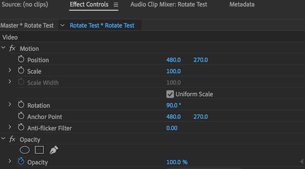 rotate video in adobe premiere