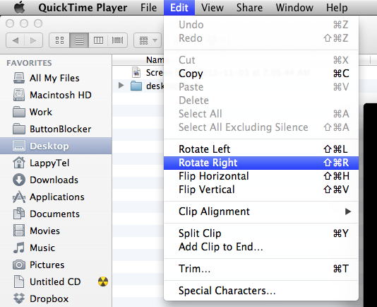 save rotated video with quicktime